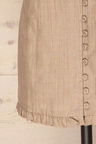Tertre Beige Striped Button-Up Mini Skirt | La Petite Garçonne 7
