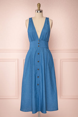 Thavery Blue Jean Button-Up Midi A-Line Dress | Boutique 1861