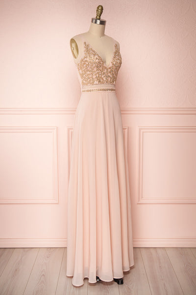 Thayna Blush Pink Embroidered Maxi Prom Dress | Boutique 1861