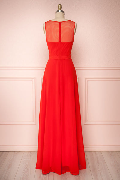 Thayna Red Embroidered Maxi Prom Dress | Boutique 1861