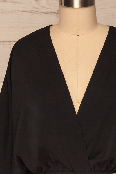 Thebes Black Kimono Style Crop Top front close up | La petite garçonne