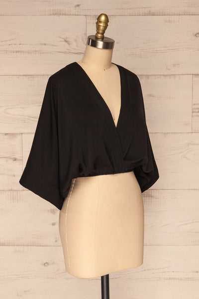 Thebes Black Kimono Style Crop Top side view | La petite garçonne