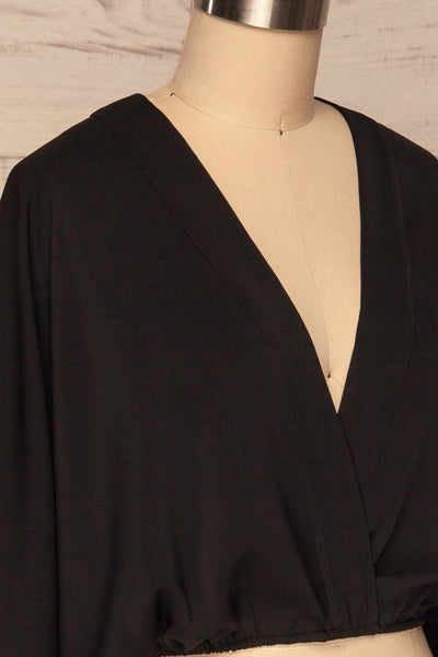 Thebes Black Kimono Style Crop Top side close up | La petite garçonne