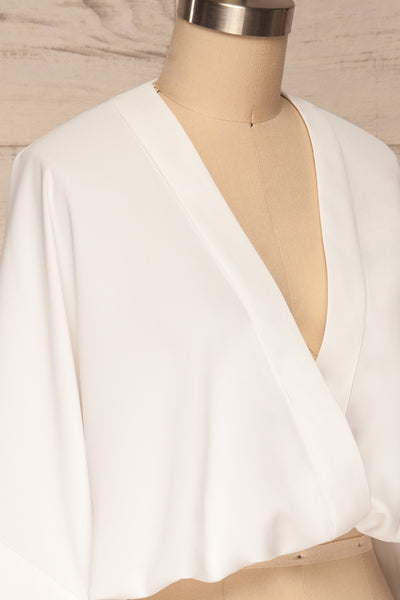 Thebes White Kimono Style Crop Top | La petite garçonne side close up