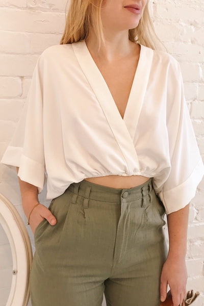 Thebes White Kimono Style Crop Top | La petite garçonne on model