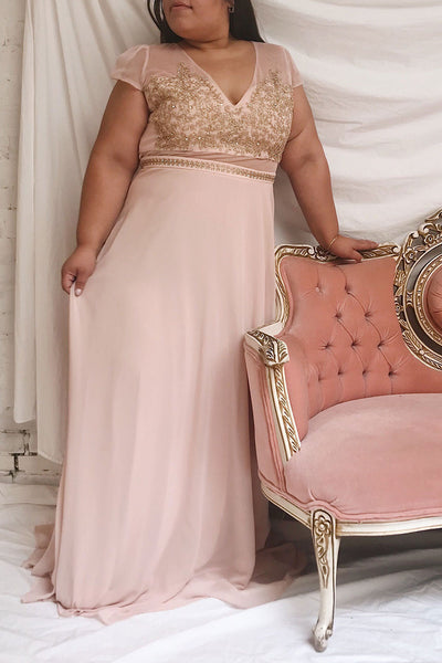 Theola Blush Pink Embroidered Maxi Dress | Boutique 1861 on model