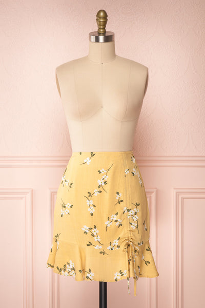 Katalina Yellow Floral Top with Frills | Boutique 1861 front view