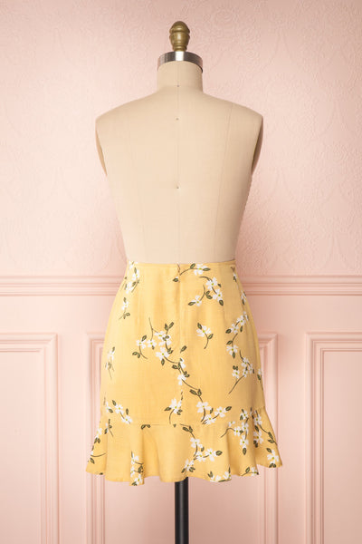 Katalina Yellow Floral Top with Frills | Boutique 1861 back view