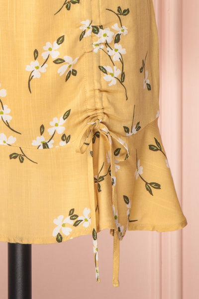 Katalina Yellow Floral Top with Frills | Boutique 1861 details