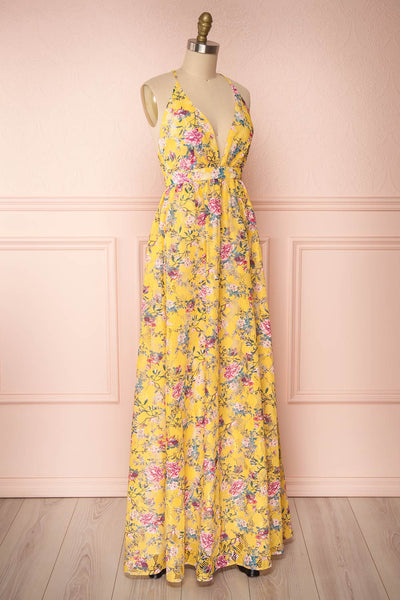 Thuriane Yellow Floral Patterned Maxi Dress | Boutique 1861 side view