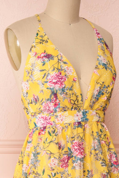 Thuriane Yellow Floral Patterned Maxi Dress | Boutique 1861 side close-up