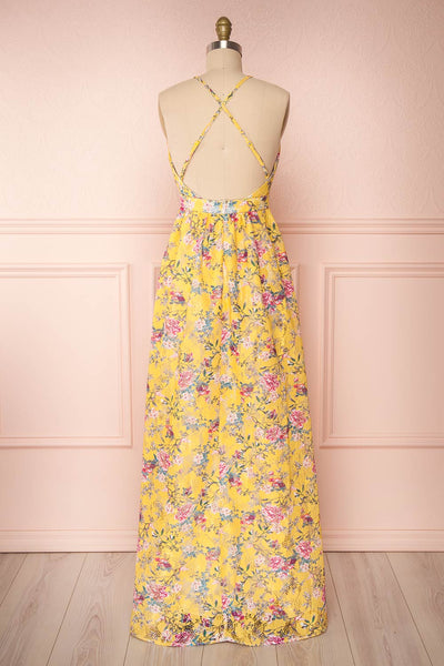 Thuriane Yellow Floral Patterned Maxi Dress | Boutique 1861 back view