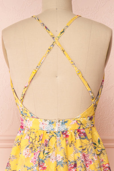 Thuriane Yellow Floral Patterned Maxi Dress | Boutique 1861 back close-up