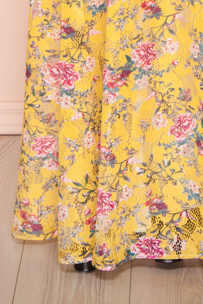 Thuriane Yellow Floral Patterned Maxi Dress | Boutique 1861 bottom