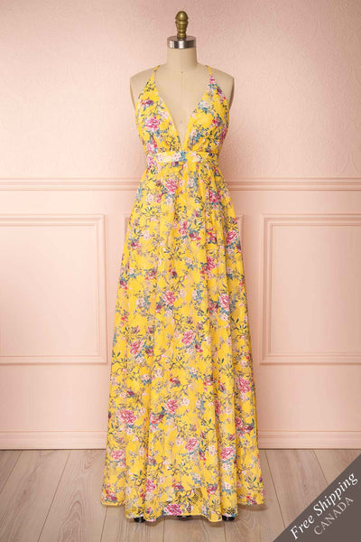 Thuriane Yellow Floral Patterned Maxi Dress | Boutique 1861 front view