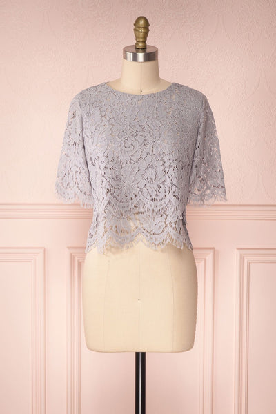 Thyda Grey Floral Lace Crop Top | Boutique 1861