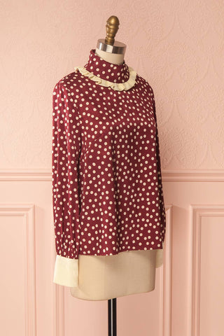Timea Burgundy Silky Blouse with Ivory Polka Dots | Boutique 1861