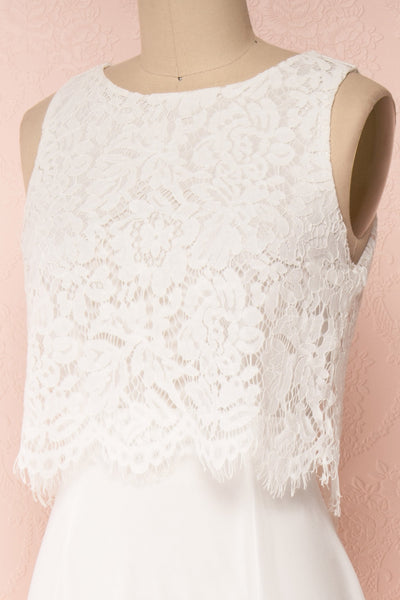 Timothea Ivory Bridal Maxi Dress w/ Lace Top | Boudoir 1861 side close-up