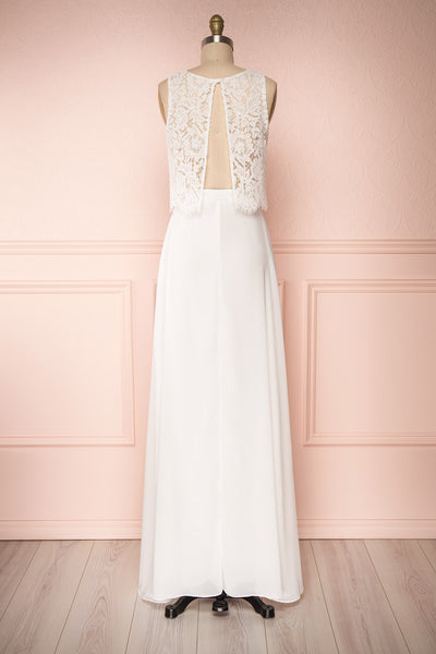 Timothea Ivory Bridal Maxi Dress w/ Lace Top | Boudoir 1861 back view