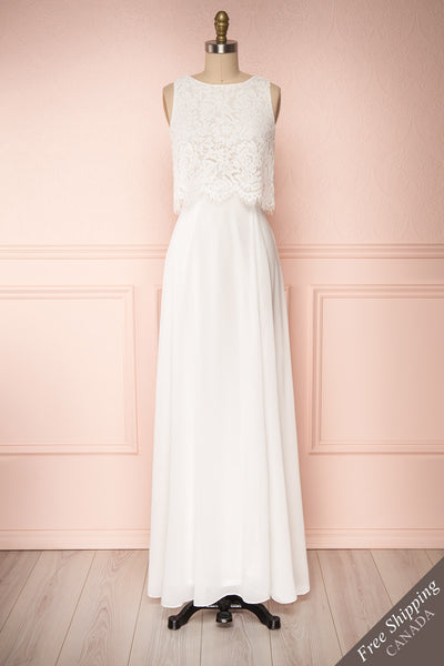 Timothea Ivory Bridal Maxi Dress w/ Lace Top | Boudoir 1861 front view