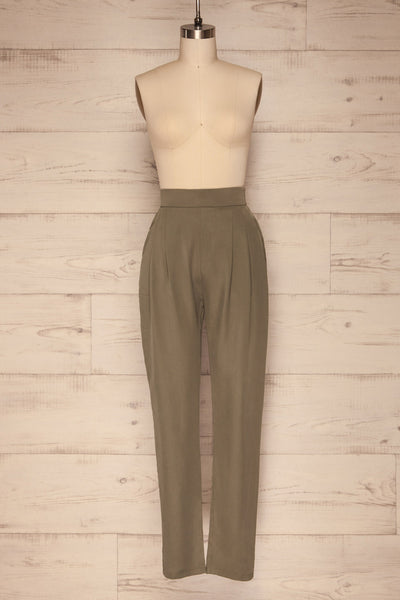Tintigny Khaki Green Straight Leg Pants | La petite garçonne front close up