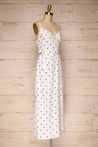 Tirana White Polka Dot Wrap Dress | La petite garçonne side view