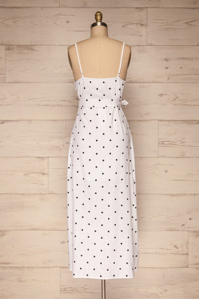 Tirana White Polka Dot Wrap Dress | La petite garçonne back view