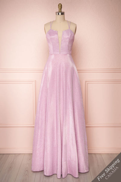 Tiriao Lilac Sparkly A-Line Gown w Plunging Neckline | Boutique 1861