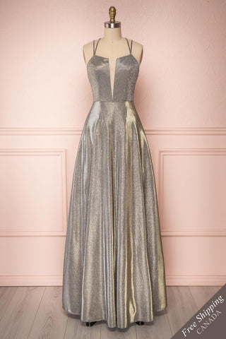 Tiriao Silver Sparkly A-Line Gown w Plunging Neckline | Boutique 1861