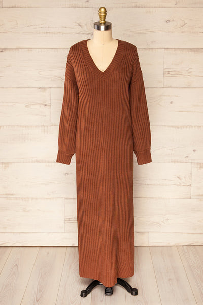 Titel Brown Long Sleeve Knitted Maxi Dress | La petite garçonne front view