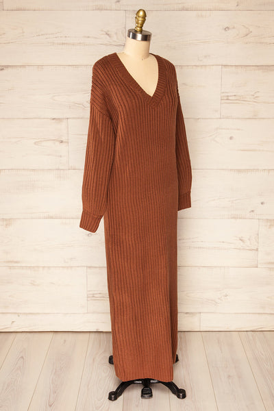 Titel Brown Long Sleeve Knitted Maxi Dress | La petite garçonne side view