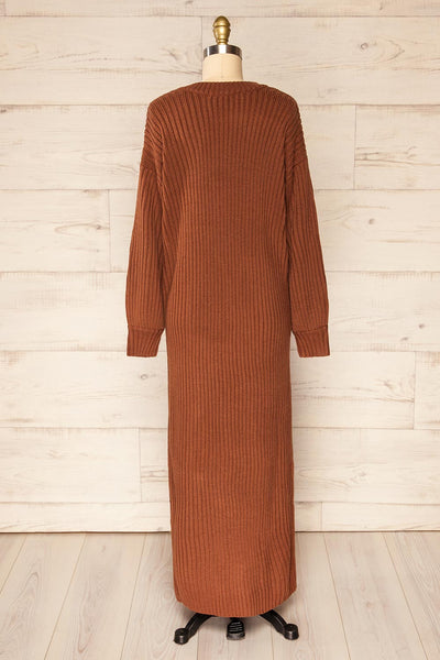 Titel Brown Long Sleeve Knitted Maxi Dress | La petite garçonne back view