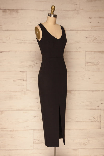 Tivoli Black V-Neck Midi Dress | La petite garçonne  side view