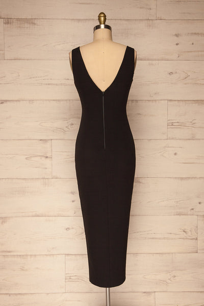 Tivoli Black V-Neck Midi Dress | La petite garçonne back view