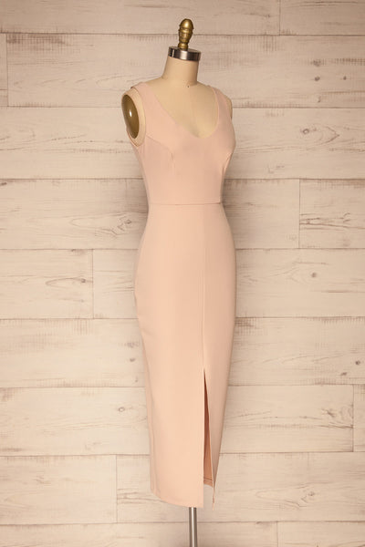 Tivoli Blush Pink V-Neck Midi Dress | La petite garçonne  side view
