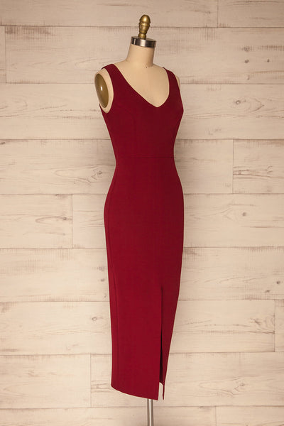 Tivoli Burgundy V-Neck Midi Dress | La petite garçonne  side view