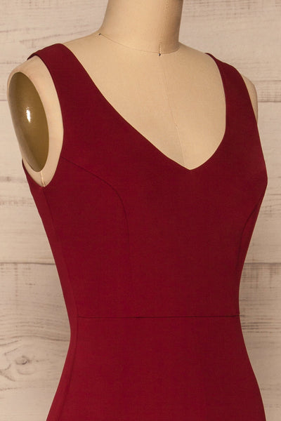 Tivoli Burgundy V-Neck Midi Dress | La petite garçonne side close-up