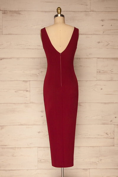 Tivoli Burgundy V-Neck Midi Dress | La petite garçonne back view