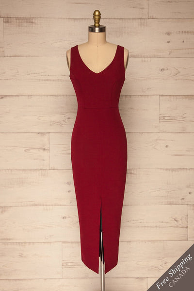 Tivoli Burgundy V-Neck Midi Dress | La petite garçonne  front view