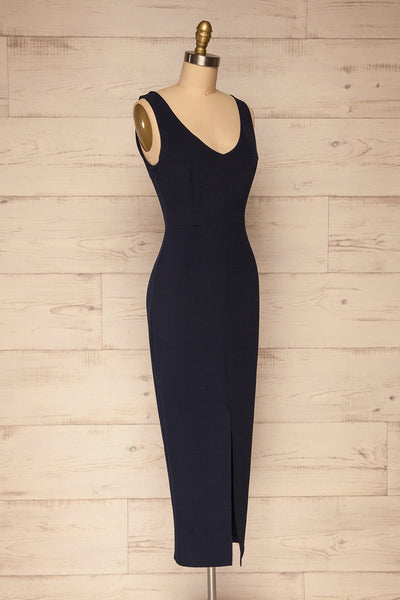 Tivoli Navy Blue V-Neck Midi Dress | La petite garçonne side view