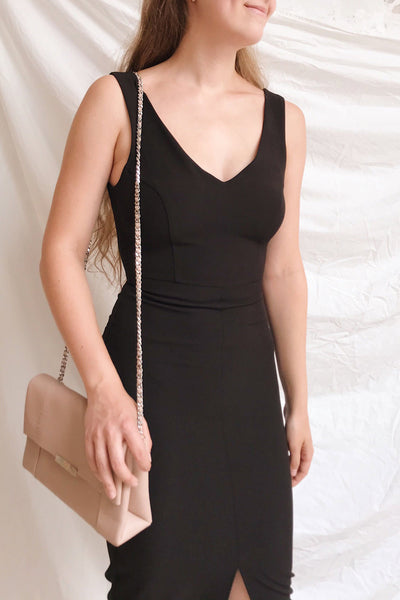 Tivoli Black V-Neck Midi Dress | La petite garçonne on model