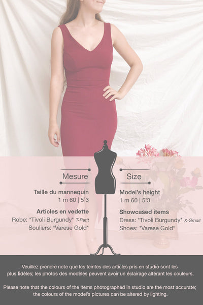 Tivoli Burgundy V-Neck Midi Dress | La petite garçonne template