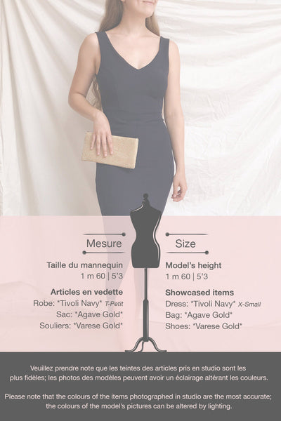 Tivoli Navy Blue V-Neck Midi Dress | La petite garçonne template