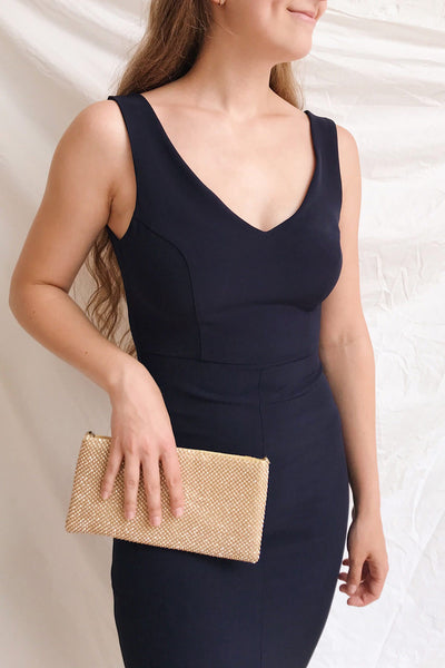 Tivoli Navy Blue V-Neck Midi Dress | La petite garçonne on model