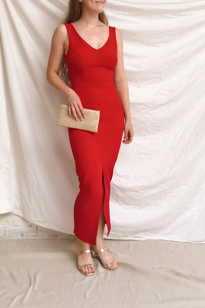 Tivoli Red V-Neck Midi Dress | La petite garçonne on model