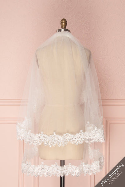 Tofieldie White Embroidered Wedding Veil | Boudoir 1861