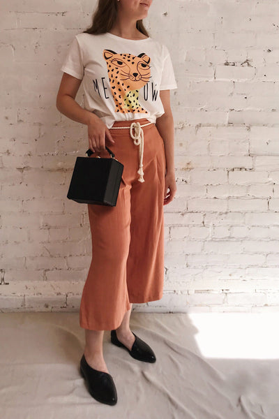 Rotello Orange High-Waisted Cropped Pants | La petite garçonne on model
