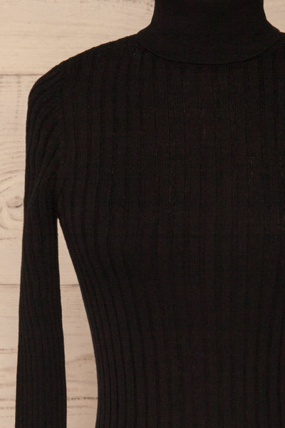 Tomsk Black Turtleneck Top | Haut | La Petite Garçonne fornt close-up
