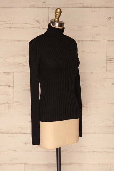 Tomsk Black Turtleneck Top | Haut | La Petite Garçonne side view