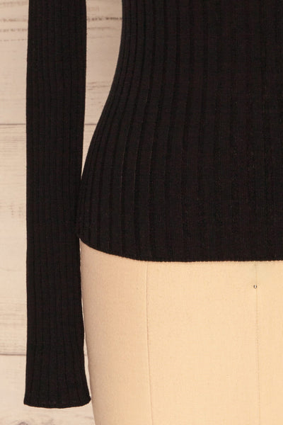 Tomsk Black Turtleneck Top | Haut | La Petite Garçonne bottom close-up